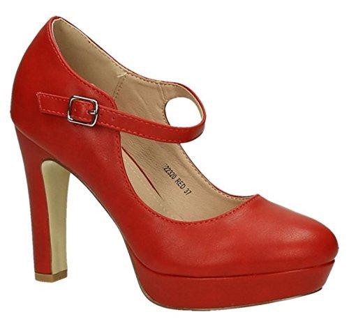 King Of Shoes Klassische Trendige Damen Mary Jane Riemchen Pumps Stilettos Party High Heels Plateau Schuhe Bequem 20 Rot