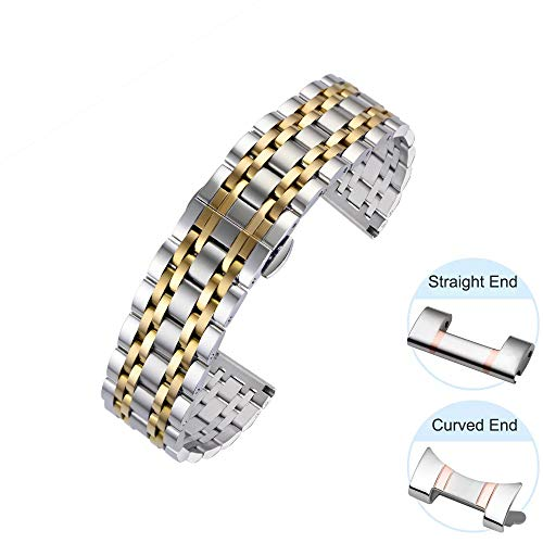 QY-Our Luxury Fashion Watch Band with Curved Ends and Straight Ends 6 Colors for 7 Rows 12mm Gold Tone Stainless Steel Watch Band Quick Release Bracelet Metal Straps Deployment Clasp for Men Ladies