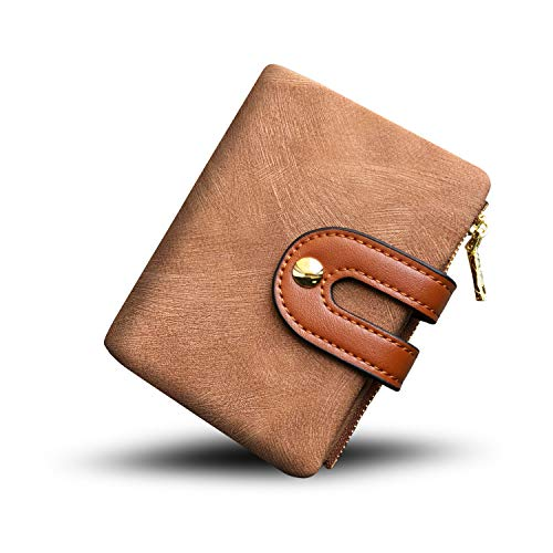 Brown Billfold - Women's RFID Bifold Leather Small Wallet Ladies Mini Purse with Coin Pocket,Soft Compact Thin Wallet (brown)