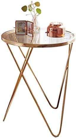 Goedkoop Aanbevelen Ay yu Moderne creatieve glazen smeedijzeren salontafel sofa hoek een paar gouden kleine ronde tafel kleine bijzettafel lo 0DXSM6K