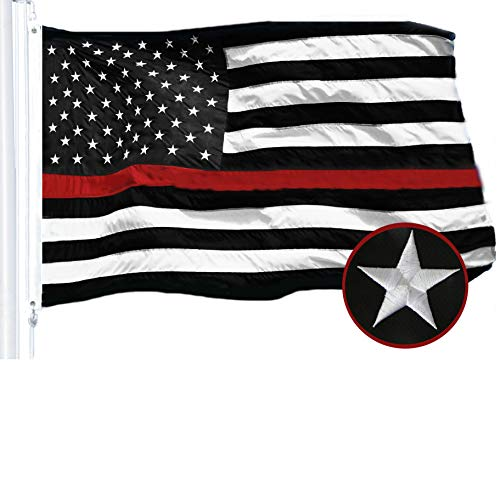 - G128 - Thin Red Line Embroidered U.S. American Flag 2X3 FT Brass Grommets Honoring Fire Fighters EMTs Black White Red US Flag