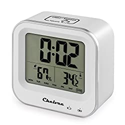 Chelvee Alarm Clock, Rechargeable Large LCD Screen Alarm Clock with Time/Date/Temperature/Humidity Display, Snooze Function, Comfort Induction, Built-in Lithium Battery (White)