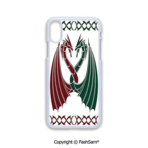 Plastic Rigid Mobile Phone case Compatible with iPhone X Black Edge Dragons Theme Design Mythical Early Medieval Scandinavian Celtic Castle Knights Print 2D Print Hard Plastic Phone Case Celtic Dragons Name Light