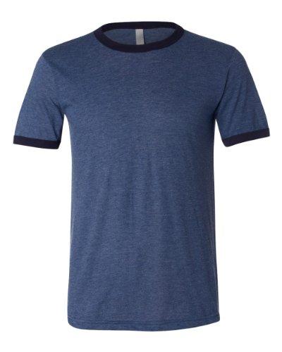 Mens Ringer T-shirt Heather (Canvas Men's Robertson Heather Ringer Short Sleeve T-Shirt - HEATHER NVY/MIDNIGHT - Medium)