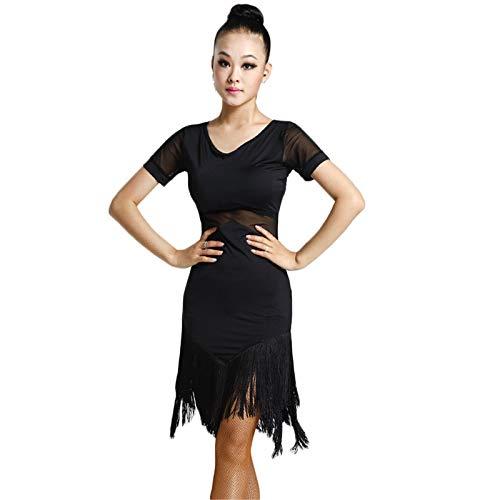 Womens Fringe Latin Dance Skirt Dance Training Skirt Stage Performance Dress Ballroom Costume(Black -