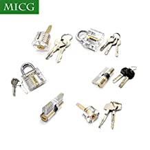 MICG Transparent Visible Cutaway Practice Padlock Door Lock Pick Training Skill For Locksmith Beginer (6 sets)