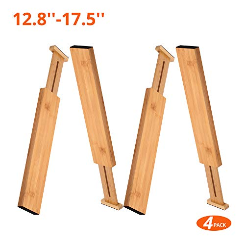 100% Natural Bamboo Adjustable Short Size Kitchen Drawer Dividers(12.8