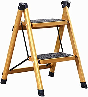 Escalera escalera plegable para el hogar elegante escalera de dos pasos / tres pasos escalera de aluminio con pedal escalera aislada plegable fácil de llevar (Color : Gold , Size : 40x47x60cm) : Amazon.es: Hogar