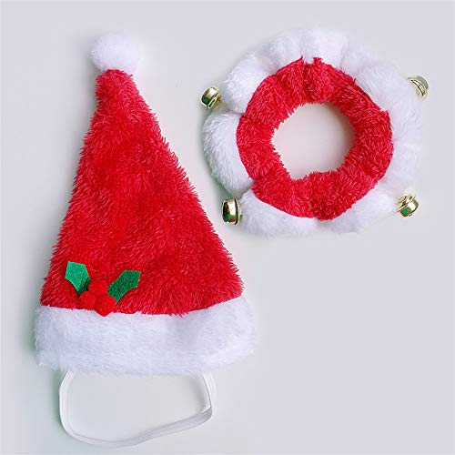 Christmas Dog Hat and Collar Set Dogs Costume Santa Hats Cap Necklace with Bell Pet Supplies for Christmas Festival Decoration Pink M