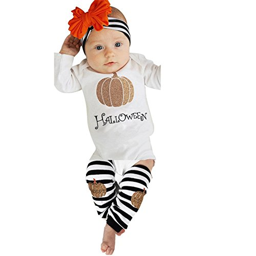 Halloween Baby Costume, Misaky Girls' Onesie Pumpkin Leg Warmers Headband Outfit Set (3M-6M, (Girl Costumes Leg)