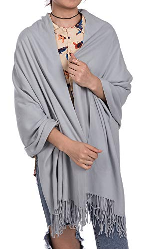 Womens Soft Scarf Blanket Large Pashmina Cashmere Shawls Wrap Stole with Tassel(Silver Gray) - Belted Cashmere Sweater