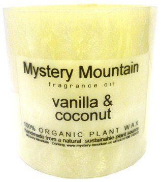 Mystery Mountain Large Chunky Vanilla and Coconut Scented 100% Organic Plant Wax Handmade Vegan Natural Pillar Candles-Approx 50 Hour Burning time-3 inchx 3 inch, White, 7 x 7 x 7 cm 3