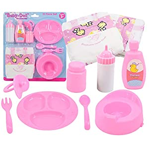 The Magic Toy Shop 9 Piece Baby Dolls Feeding Accessories & Nappy Set with Milk Bottle, Dummy, Potty, Feeding…
