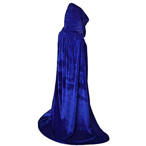 BIGXIAN Extra Long Hooded Velvet Cloak Halloween Christmas Fancy Cape Various Colors Blue
