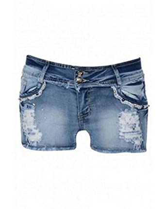6e6e1426afb Ladies Womens Distressed Denim Shorts With Diamante Small to Extra-Large  (Extra-Large