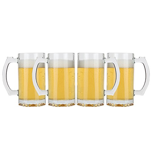 (Lily's Home Classic Beer Stein Glasses, Thick Bottoms and Handles, Also Work Great for Root Beer Floats or Lemonade (16 oz. Each, Set of)