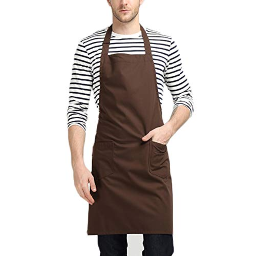 Hang Neck Apron - Adjustable Halter Rope Length with Tool Pockets Kitchen Overalls Coffee Shop Chef Adult Cooking (Color : Brown) ()