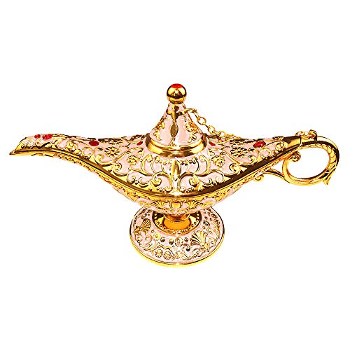 Sunmall Vintage Legend Aladdin Lamp Magic Genie Wishing Light,Collectable Rare Classic Arabian Costume Props Lamp Tabletop Decor Crafts for Home/Wedding Decoration&Gift for Party/Halloween/Birthday -