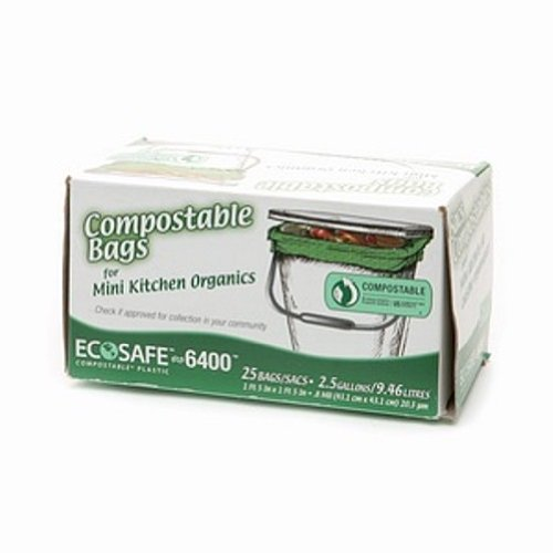 EcoSafe 2.6 Gallon Compostable EcoBio Bags, 25-Count