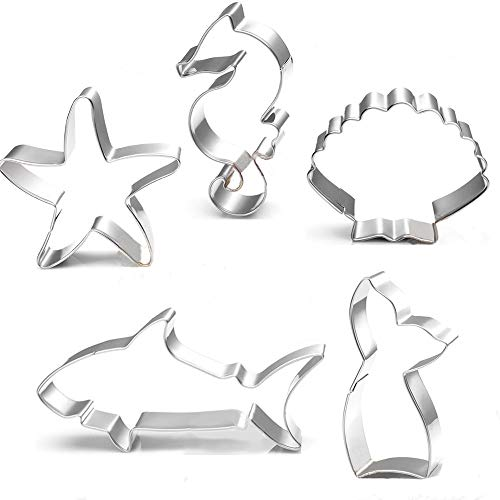 Mermaid Cookie Cutter Set - 5 Pcs - Mermaid Tail,Shark,Seahorse,Starfish and Seashell cookie cutters Molds for Kids Birthday Party and Mermaid Theme Party Supplies Decoration Handmade Cookie