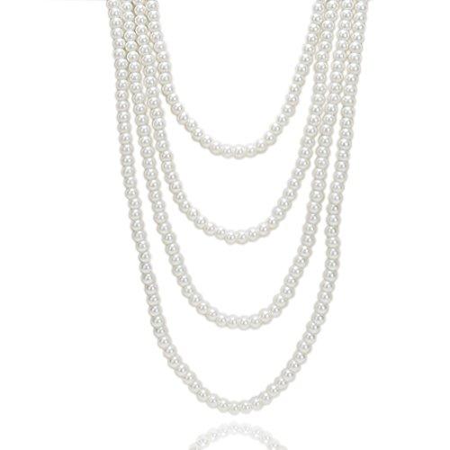 Kalse Multiple Layer 4 Strands 10mm Simulated Pearl Beads Pendant Bib Long Necklace White (NE0078)
