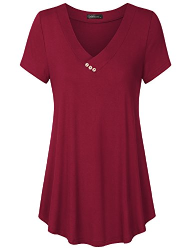(Vinmatto Women's Short Sleeve V Neck Flowy Tunic Top(XL,Solid Purple Red))