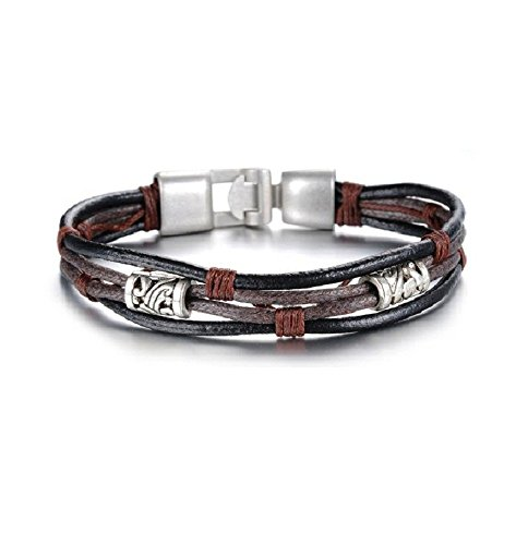 Casoty Jewelry Vintage Braided Wristband Cuff Bracelet Bangle Leather Chain Rope – fit 7-9 Inch