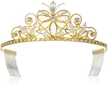 DcZeRong Gold Tiara Birthday Tiara Gold Princess Tiaras Crowns Gold Prom Tiara Prom Crowns