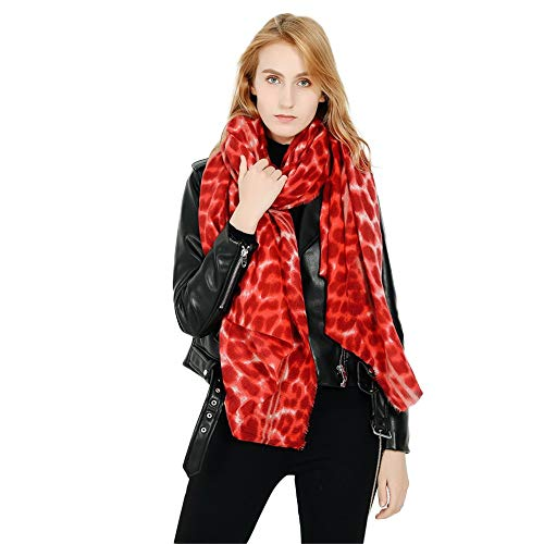 Women Fashion Leopard Pattern Animal Print Shawl Scarf Wrap, Soft Lightweight Shawl Girls (Red, Free Size: 81.8x35.4 inch) from Appoi Scarf