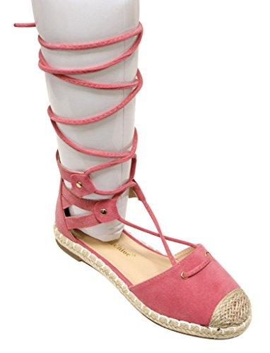 Chase & Chloe Nicki-2 Womens Espadrille Cap Dorsay Gilly Tie Wrap Platta Sandaler Persika