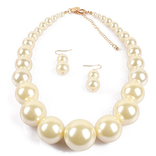 [KOSMOS-LI Large Style Big Imitate Pearl Strand Choker Necklace With Earrings Set] (Necklaces And Earrings)