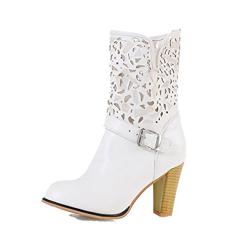 top Women's Boots High Toe PU Closed Low Heels AgooLar Round White Solid 8qgw77na