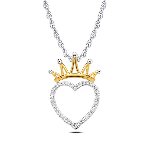 Tesero Mio 10K White Gold and Crown 2Mic 14Kgp Pink Plated 1/6 Carat Round Cut (I-J Color, I2-I3 Clarity) Natural Diamond Heart Pendant Necklace for Women