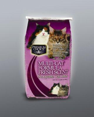 Premium Choice Multi Cat Fresh Scent Scoopable Cat Litter, 25 Pound (Premium Scoopable Litter)