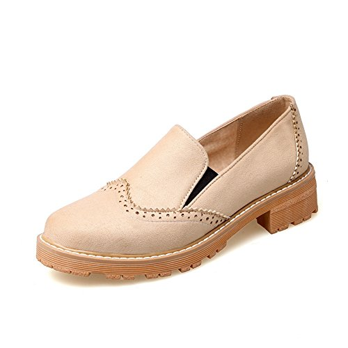Balamasa Dames Vierkante Hakken Uitgehold Platform Urethaan Flats-schoenen Beige