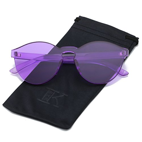 LKEYE-Fashion Party Rimless Sunglasses Transparent Candy Color Eyewear LK1737 Purple - Sunglasses Purple Cheap