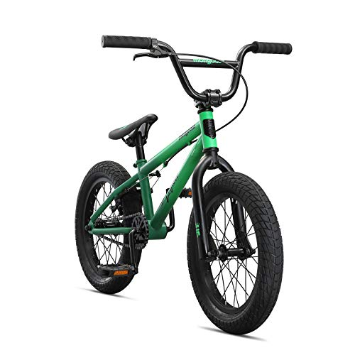 Mongoose Legion L16 Freestyle Sidewalk BMX Bike for Kids, Children and Beginner-Level Riders, Featuring Hi-Ten Steel Frame and Micro Drive 25x9T BMX Gearing with 16-Inch Wheels, Green