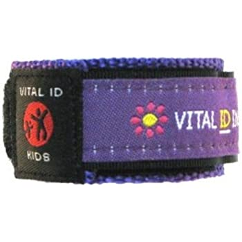 Child / Kids Vital ID Wristband - Medical Emergency & Identity Purple Flowers v4UcSGs83