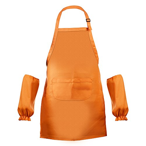 BCP Waterproof Anti-Oil Adjustable Durable Open Back Kids Artists Aprons with Sleeveslet for Painting Kindergarten Art Craft Cooking Age 7-12 Years Old (Orange)