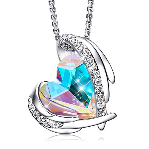 CDE Necklace for Women White Gold Heart Pendant Necklace Embellished with Crystals from Swarovski Jewelry for Women