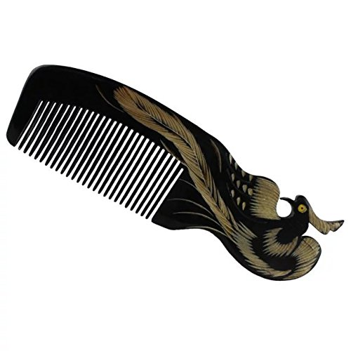 Brendacosmetic Natural Horn Comb Phoenix Carving Comb,No Static Black Buffalo Horn Wide Tooth Comb Crafts Comb For combing or - Singapore For Sale Tortoise