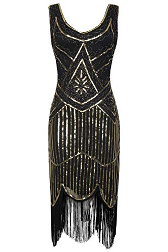 BABEYOND 1920s Flapper Dress Roaring 20s Great Gatsby Costume Dress Fringed Sequin Dress Embellished Art Deco Dress (X-Small, Black and Gold)
