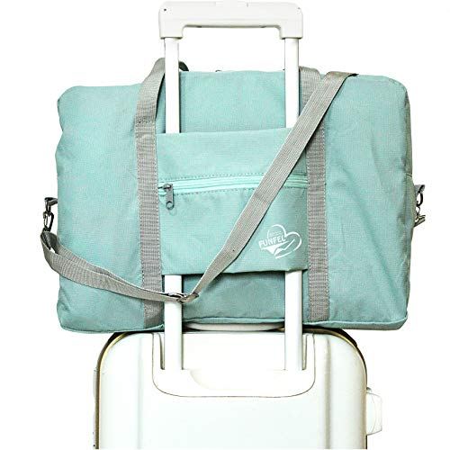 FUNFEL Travel Foldable Duffel Bag for Women & Men, Waterproof Lightweight travel Luggage bag for Sports, Gym, Vacation (Ⅲ-Mint Green)