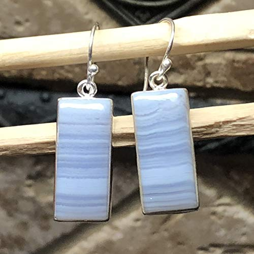 (Natural Blue Lace Agate 925 Sterling Silver Dangle Earrings 35mm Long)