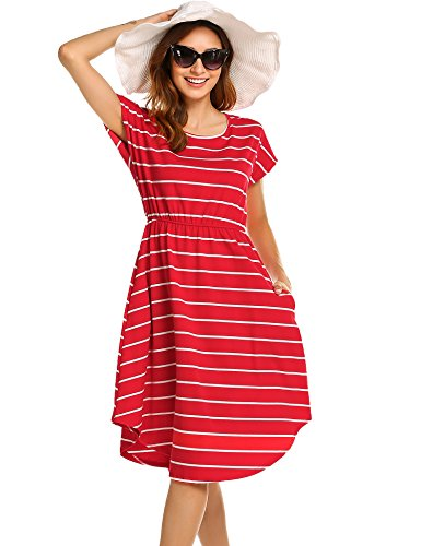 Women's Casual Swing T-Shirt Dresses with Pockets Red,M -