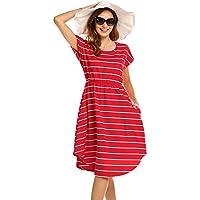 Halife Women's Summer Casual Stripe Elastic Waist Loose Beach Midi Dress