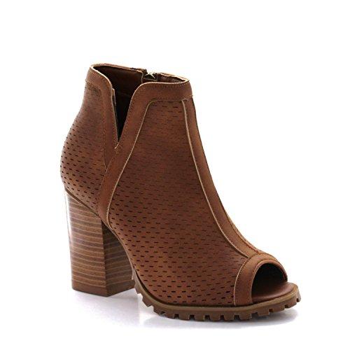 Shoe Heel Chunky Saddle - Seven7 Footwear Women's Ashbury Peep Toe Chunky Heel Shoe Saddle 7