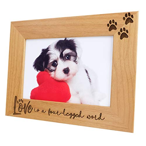 Love is a Four-Legged Word-Natural Wood Engraved Pet Picture Frame with Glass,Dog Picture Frame,Cat Picture Frame,Dog Mom,Cat Dad,Paw Print,Pet Memorial Picture Frame,Pet Lover Gift(5x7 Horizontal) (Metal Picture Dog Frame)