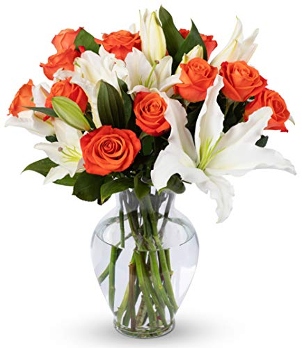 Benchmark Bouquets Orange Roses and White Oriental Lilies, With Vase (Fresh Cut Flowers) -