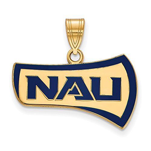 Sterling Silver w/ 14K Yellow Gold-Plated LogoArt Official Licensed Collegiate Northern Arizona University (NAU) Large Enamel (Solid 14k Gold University Seal)
